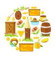 cartoon elements of beekeeping vector image vector image