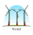 cartoon wind turbine or rotation energy windmill vector image vector image