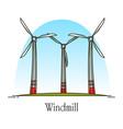 cartoon wind turbine or rotation energy windmill vector image