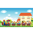 Children and train vector image vector image