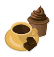 coffee cup and sweets delicious modern vector image