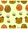 collection bear and honey pattern style vector image vector image