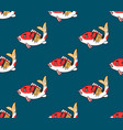 colorful carp on indigo blue background vector image