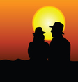 couple silhouette on moonlight vector image vector image