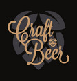 craft beer logo beer hop lettering on black vector image