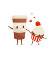 cup of coffee and cupcake are friends forever vector image vector image