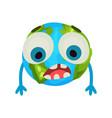 cute cartoon sad earth planet emoji humanized vector image vector image