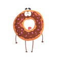 cute donut character with chocolate glazing vector image vector image