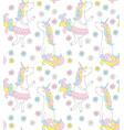 cute unicorn seamless pattern with flowers vector image vector image