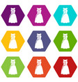 dress model icons set 9 vector image vector image