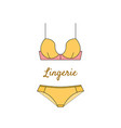 elegant yellow lingerie icon in flat style vector image vector image