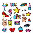 fashion patch badges set vector image vector image