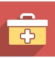 First Aid Toolbox Flat Square Icon with Long vector image
