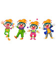 four funny clowns on white background vector image vector image