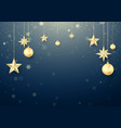 golden christmas ball and stars new year vector image