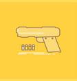 gun handgun pistol shooter weapon flat line vector image