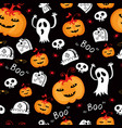 halloween seamless comic pumpkin and phantom vector image vector image