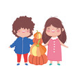 happy thanksgiving day cute little boy and girl vector image