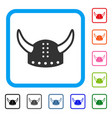horned helmet framed icon vector image vector image