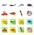 isolated object of sea and animal sign set of sea vector image vector image
