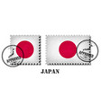 japan or japanese flag pattern postage stamp with vector image vector image