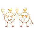 kawaii two cartoon fruit orange funny vector image