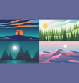 landscape backgrounds flat night sunset sky with vector image