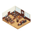 law justice isometric composition poster vector image vector image