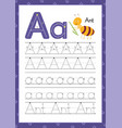 letter a handwriting practice worksheet learning vector image vector image