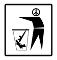 man with peace symbol drops guns on the bin vector image