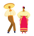mexican dancing couple in traditional costumes vector image vector image