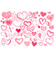 red doodle heart set isolated on white background vector image