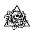 rose and skull tattoo with sacred geometry frame vector image vector image