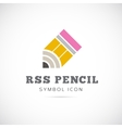 RSS Pencil Concept Symbol Icon or Logo Template vector image vector image