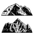 set mountains in engraving style design vector image vector image