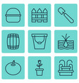 set of 9 gardening icons includes pail package vector image vector image
