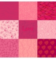 Set of seamless patterns of rosy and purple colors vector image
