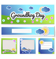 set templates post and flyer for groundhog day vector image vector image