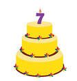 Seventh birthday cake vector image vector image