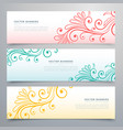 stylish floral banners set of three vector image vector image