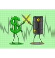 The dollar is fighting with the oil vector image vector image