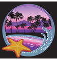 Tropical beach at night with palms island ocean vector image
