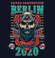 vintage tattoo fest colorful poster vector image