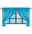 window with blue curtain vector image