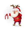 Santa Claus giving Christmas present vector image