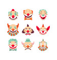 clown faces isolated icons set vector image