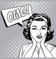 woman omg expression comic pop art vector image