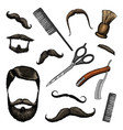 barbershop tools icon set man or hipster fashion vector image
