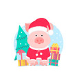 a cute pig in a suit and a santa claus hat with a vector image