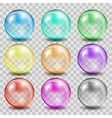 Abstract glass color spheres on transparent vector image